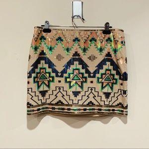 Express Sequined Aztec Print Skirt M